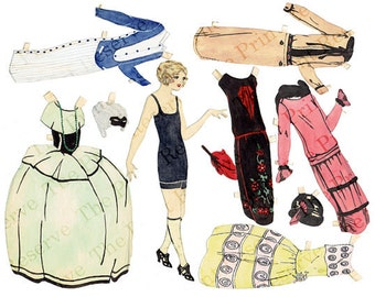 Printable Paper Doll 1920s Paper Doll Art Deco with Masquerade Ball Costume Hand Drawn Digital Instant Download