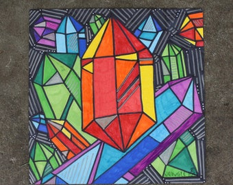 Cartoon Crystals drawing 2015- crystal drawing- crystal art- illustration