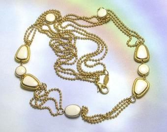 Vintage White Napier Necklace,  signed,  metal beads minimalist