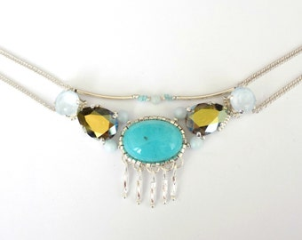 Embroidered silver necklace with crystal and Amazonite stones