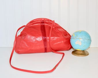 Vintage Red Handbag, Red Faux Leather Crossbody , 80's