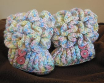baby booties ~ multicolored booties ~ baby girl ~ crochet booties ~ 0-3 month booties