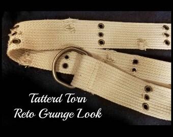 Hippie canvas belt - Tan Cotton belt -Tan D Ring Belt - unisex D ring belt - small waisted belt -2 wide -size up to 31 belt - # 58