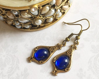 Blue Dangle Earrings, Blue Jewelry, Blue Earrings, Dangle Earrings, Sapphire Earrings, Sapphire Jewelry