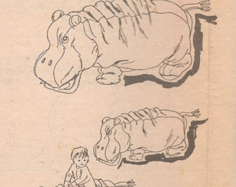 Mail Order 5013 1980s Stuffed Hippo Pattern 23 and 37 Inch Long Large Small Floor Toy Hassock Hippopotamus Fiona Vintage Sewing Pattern