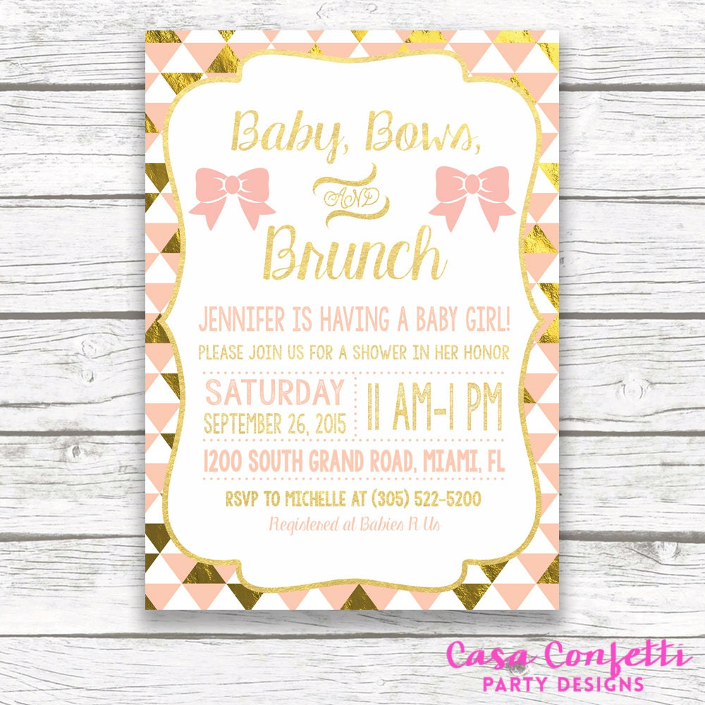 Baby Shower Brunch Invitation Baby Bows and Brunch Peach and