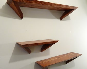 Pine Angle Shelves, Set of 3