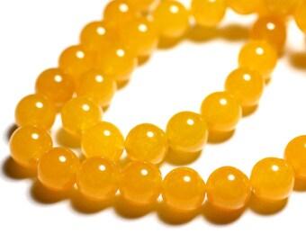8pc - beads - Jade balls 12mm yellow Orange - 4558550089748