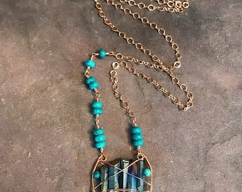 Turquoise & Blue Titanium Druzy Crystal Necklace - Long Bohemian Necklace - Boho Layering Necklace - Gypsy Style - Healing Crystal Necklace