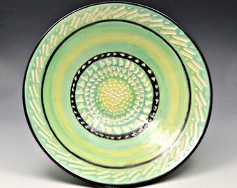 Decorative Green-Turquoise Ceramic Bowl - Sgraffito Design-Wheel Thrown - Functional Bowl