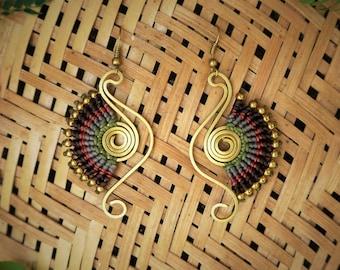 Boho earring, Dangle earring, Drop earring, Handmade earring, Colorful earrings, Gift for her.