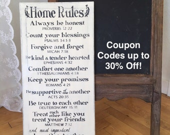 Home Rules / Bible Verses / Hand Painted Sign with Annie Sloan Old White Chalk Paint & Black Acrylics