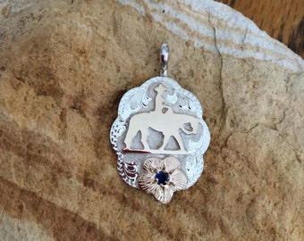 Pleasure Horse Pendent/ Artisan Handmade/ Sterling Silver and 12kt goldfill overlays/ blue stone