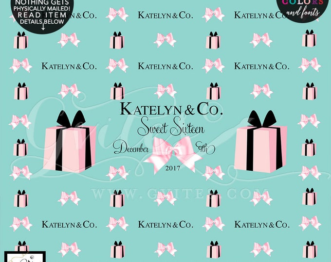 Step and Repeat Backdrop Sweet 16, Breakfast at & Co themed, Blush pink and turquoise blue, DIGITAL FILE ONLY!