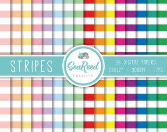 Stripe Digital Paper, Horizontal Stripes, Stripes Digital Paper, Pastel Stripes, Striped Paper Pack, Printable Paper, Instant Download