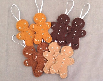 8 gingerbread man ornaments, cute ginger bread decorations, tan brown cookie, brown felt biscuit, brown tree ornament, muffin man cracker