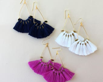 51 Tassel Colors/ Tassel Earrings/ Teardrop Hoops/ Mini Tassels/ Teardrop Earrings/ Mini Tassel Earrings/ White Tassels