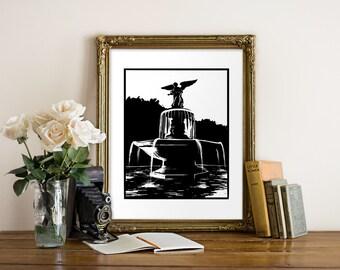 Central Park Bethesda Fountain Giclee Print - NYC - Woodcut Style - New York Art, NY Art, Central Park Art, Bethesda Art, Black and White
