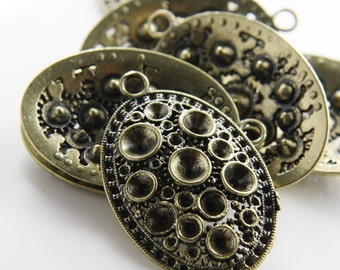 4pcs Antique Brass  (More Gold)Tone Base Metal Pendants-Oval with Rhinestone Holes 48x31mm (12434Y-C-41)