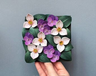 Violet Pansy Trillium Wall Decor - Flower Wall Art - Purple Flowers Decor - Paper Quilling Flowers - 1st Anniversary - Botanical Art