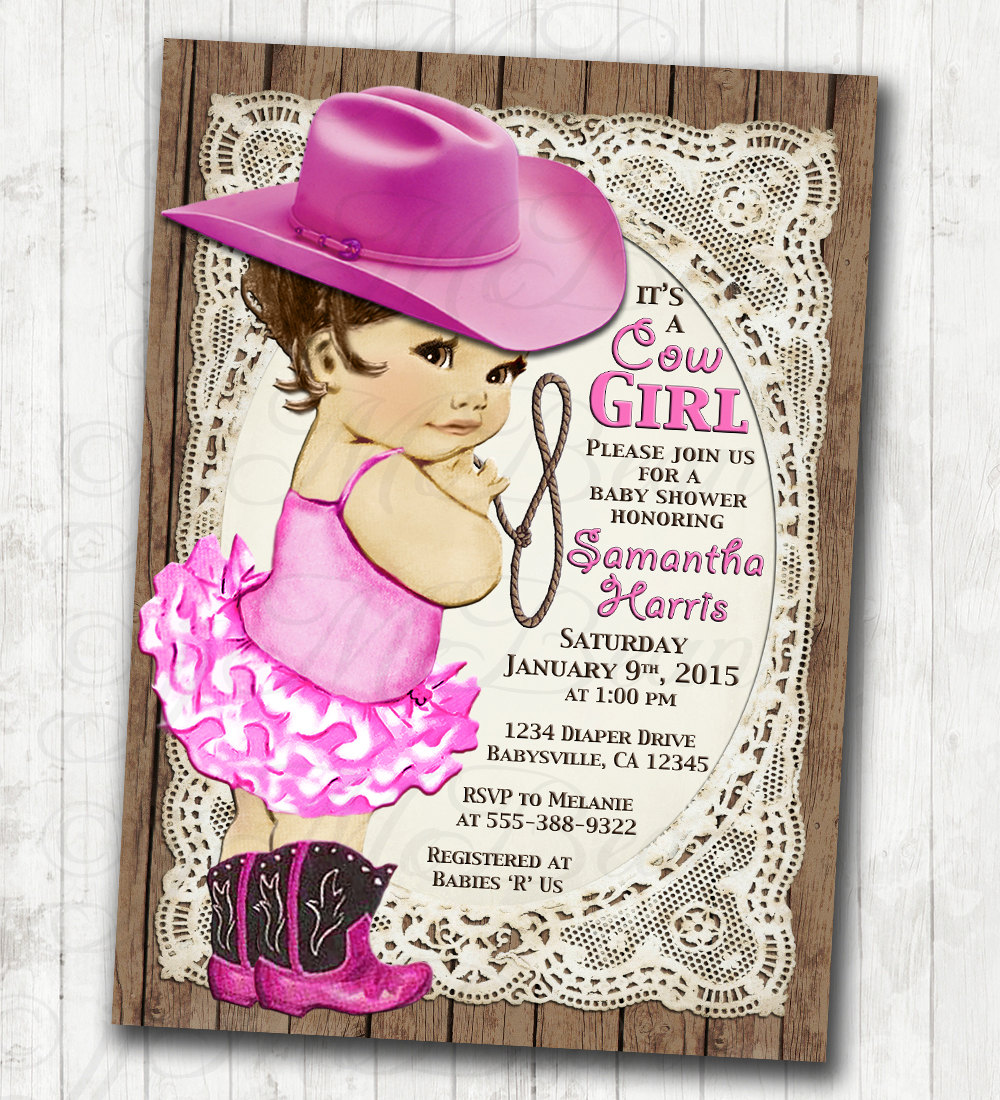 Vintage Baby Shower Invitations Girl: Cowgirl Baby Shower Invitation For Girl Vintage Cowgirl
