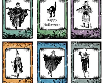 Halloween Printable Tags Witches Black Cat Journal Spots Digital Collage Sheet Instant Download Orange Black Purple Steampunk