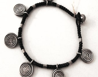 925 sterling Silver spiral Men's Bracelet and black braided leather