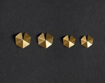 18k Gold Plated Silver Earrings, 18k Gold Plated Geometric Earrings, Gold stud Earrings, Minimalist Earrings, Statement Gold Earrings