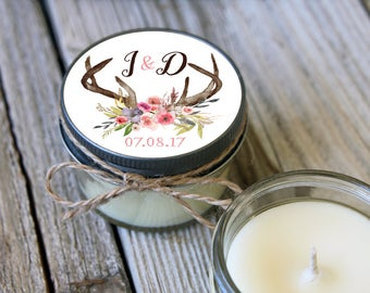 12 - 4 oz Soy Candle Bridal Shower Favors - Deer Antler Label - Floral Bridal Shower Favors - Rustic Bridal Shower Favor - Mason Jar Favor
