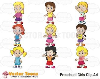 Preschool Girls Clip Art, Digital Clipart, Digital Graphics