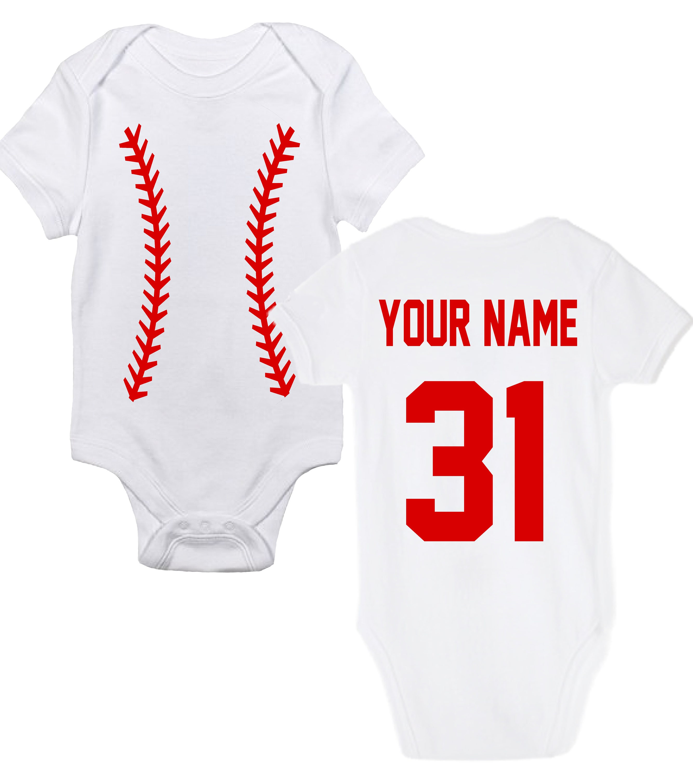 Custom Personalized Baseball Baby Bodysuit Cute Baby Clothes