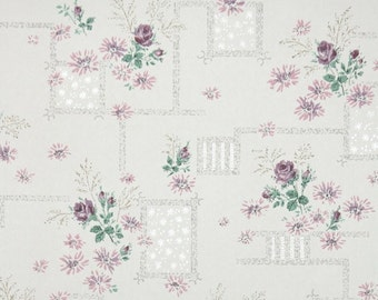 1950s Vintage Wallpaper by the Yard - Floral Wallpaper with Lavender Flowers and Purple Roses on White