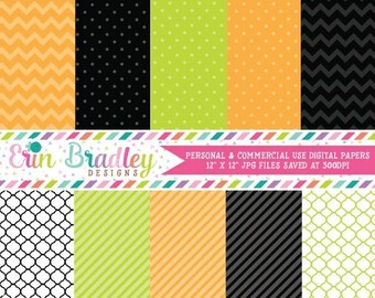 80% OFF SALE Halloween Digital Paper Pack Digital Scrapbooking Holiday Personal and Commercial Use Black Orange Green