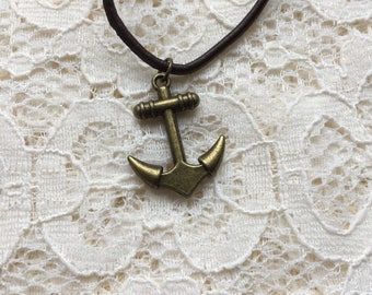 Steampunk antique vintage style anchor necklace