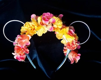 Floral headband with roses and mouse ears