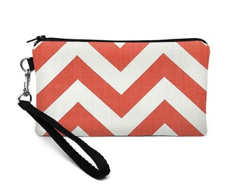 Women's Phone Wallet, Red Phone Wristlet, Smartphone Wristlet, iPhone 8 Plus Case, Zipper Phone Clutch - coral red white chevron