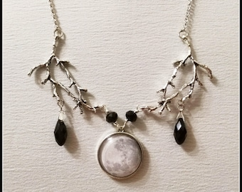 Necklace with full moon, silvery branches tree, gothic necklace, pagan goddess, witch jewelry