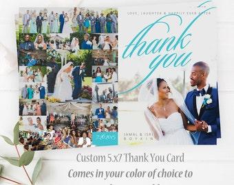 Custom Wedding Thank You Card - Custom Thank You Wedding Card - Wedding Decor - 5x7 Card - Thank You Card - Custom Thank You Card