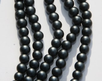 140 PCs. glass beads / frosted / 6mm / color grey - blue   MGB-6