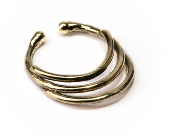 Septum Ring Brass Nickel Free Septum Fake Septum Tribal Jewelery Indian Nose Ring B29 Gift Boxed and Gift Bag Free UK Delivery