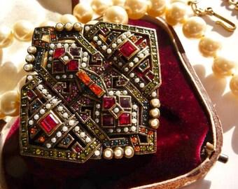 vintage Heidi Daus rhinestone brooch pendant necklace   Art Deco style   faux pearls   removable pin pendant