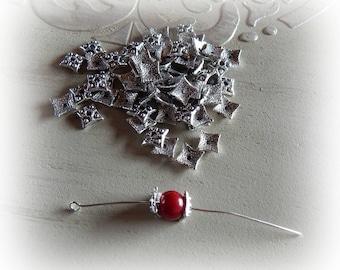 10 bead caps 7 mm square silver bead caps