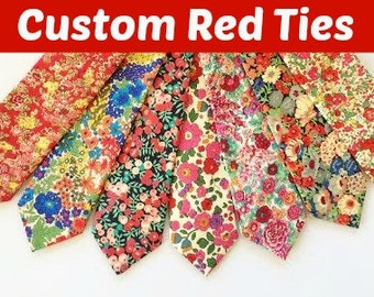 Red Wedding Tie, Red Liberty of London Tie, red floral tie, liberty of london , liberty print tie, holiday tie, Christmas tie, red and green