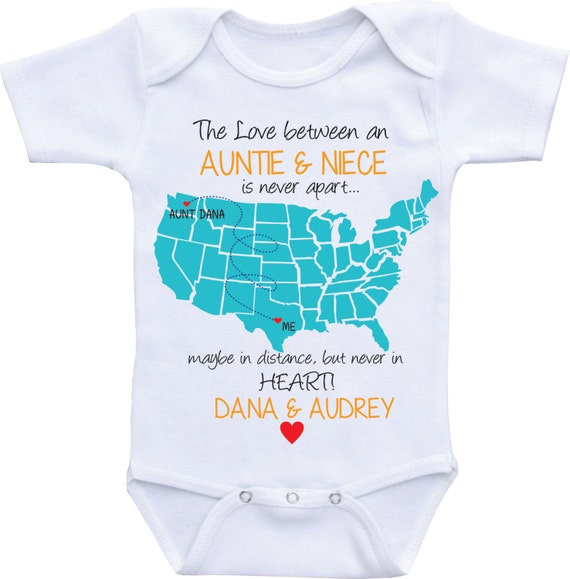 Personalized country state map aunt onesies aunt and like this item negle Images