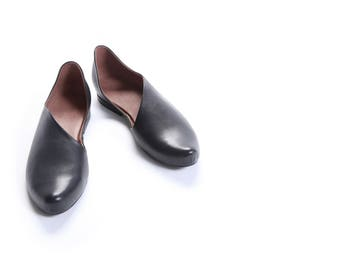 Comfortable cocktail dress shoes, Dressy shoes, Dress Shoes, Elegant shoes, Asymmetric shoes, Low heels leather shoes, Pointy woman shoes