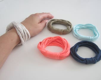 T-shirt yarn bracelet, hippie bracelet, yarn bracelet, yarn jewelry, simple bracelet, women bracelet, eco-friendly bracelet