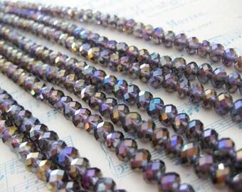 1 Strand Purple Amethyst AB - 6 mm Crystal Cushion Beads