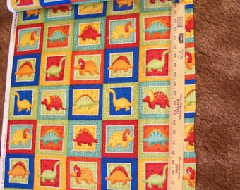 Dino Labels,The Henley Studio,Makower,UK,2 Yards,Dinosaur Fabric