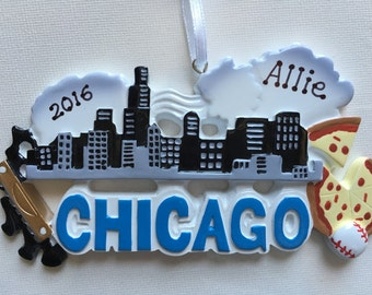 Personalized Chicago Christmas Ornament- Vacation Souvenir