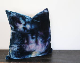 One of a Kind Indigo, Blue, Gray, Purple and Ochre Ice Dyed Silk Rayon Velvet and Wool Throw Pillow